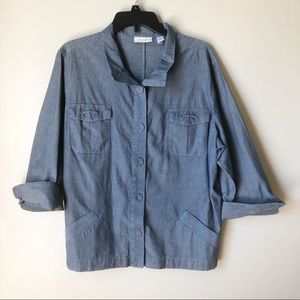 Chico's | Chambray 3/4 Sleeve Button Down Shirt